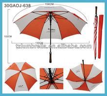 Unique Single Layer Automatic Golf Umbrella With Fiberglass Shaft and Rib