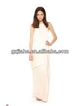 hot sale Asymmetric multi-layer slits wide swing Sexy Halter Dress