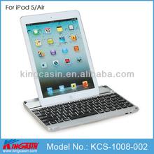 Portable aluminum metal wireless bluetooth keyboard case for iPad 5/Air