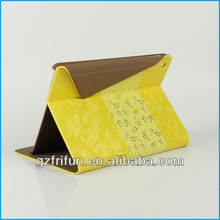 Yellow leather stitching cover case for tablet