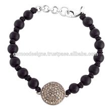pave diamond disc shaped designer silver charm bracelet, black onyx gemstone round beads macrame bracelet handmade jewelry