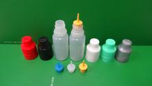ISO 8317/SGS/TUV certificate plastic eye dropper bottles,e cigarette liquid 10ml bottles for different color bottle JB-253