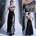 em estoque do laço preto de um ombro novo cristal longos vestidos de noite 2014