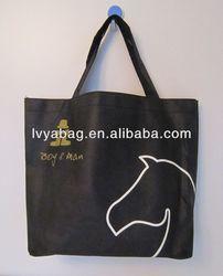 black shopping non woven bag with horse logo for cloth