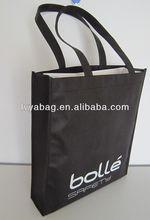 black shopping non woven bag with white logo for shopping
