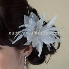 latest handmade party/wedding white feather hair clip hair fascinator