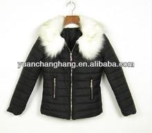 White fur collar ladies black quilted short fashion jacket