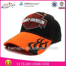 Embroidery on brim design custom racing flame baseball cap