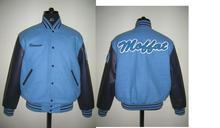 newark and navy blue varsity jacket