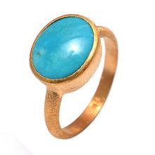 Turquoise Gemstone Vermeil Bezel Set Matte Finished Fashion Ring