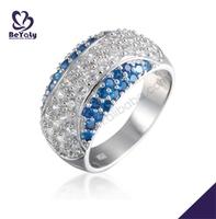 Blue stone silver artful women diamond ring guards