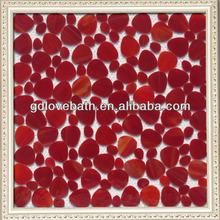 bright red irregular shape sinks floor tiles