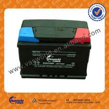 DIN 57413MF 12V 74AH backup car alarm remot battery