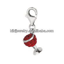 silver plated and red crystal wine glass charm