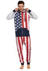Men USA Flag Soft Fleece Onesie Jumpsuit Pyjamas