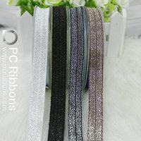 Fold over elastic ribbon Silver glitter thread foe
