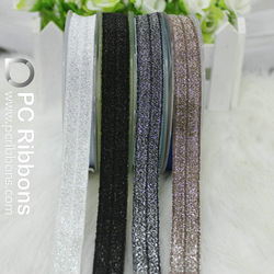 Fold over elastic ribbon Silver glitter thread foe