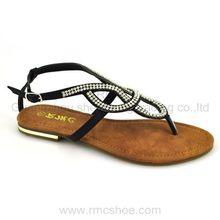 Sandal diamond fashion ladies fancy flat dress shoes