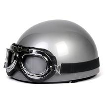 Vintage Motorcycle Motorbike Scooter Half Helmet Silver+ Free Goggles