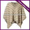 Im westlichen stil v- Hals gestreiften frauen poncho pullover, strickmuster poncho frauen