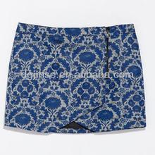 Ladies latest jacquard miniskirt with zip