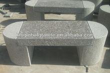 Pink Granite stone garden bench