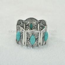 Antique Silver plating Elastic Turqoise Bracelet , Engraved Vintage Cuff Bangles (SWTBRDX190)