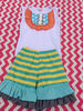 Lovely baby girls cotton outfits colored stripe ruffle pants baby outfits sleeveless top with bibs clothing suit for girls