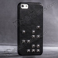 HOCO Diamond Ultra Slim Rivets Genuine Leather Coated Hard PC Case for iPhone 5 5S