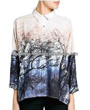 Top Newest European Trendy Women Scenery Printed Blouse Hot Sale