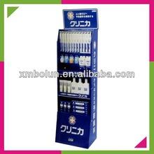 Custom supermarket cardboard display shelf for cosmetic with hook