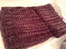 Microplush Purple Plum Warm Throw Blanket Afghan rosette 50 x 70 NEW