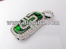 promotional green diamond Jewelry usb flash drive