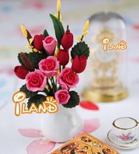 Doll house Mini Flower Pink rose w/ Vase OP024