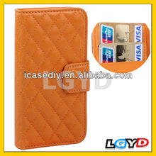 Classic Grid Flip Leather Case with Credit Card Slot for iPhone 5 /Flip Leather card slot Case