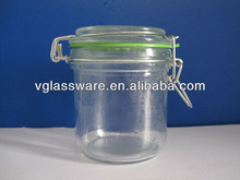 STORAGE GLASS JAR WITH RUBBER AND METAL WIRE