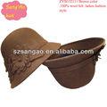 Venta al por mayor / de color marrón Popular de las muchachas cloche sombreros ocasionales de lana mujeres desgaste cap100 % lana para la boda / sombrero de playa / verano