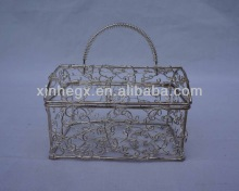 high quality rectangular wire baskets with lid and handle