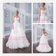2014Latest Designs High Quality Wholesale Sample Pictures Sweetheart Ball Gown Chiffon Empire Ruffles Wedding Gowns For Fat Girl