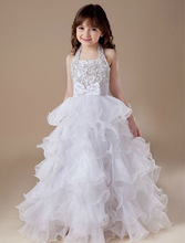 NEW ARRIVAL ! 2014 new fashion kids front short and long back wedding dress