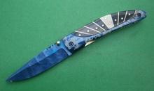 One of kind! Hand made beautiful damascus steel folding knife