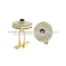 Hot sell!!!elegant and beautiful design micropaved CZ stones cuff links/OEM is welcomed