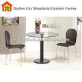 Venda quente popular tampo de vidro e único suporte do tubo simples mesa de jantar redonda