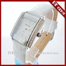 Female fashion diamond square leather watch