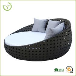 New design brown rattan round outdoor furniture sofa bed