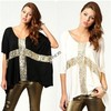2014 New Women Leisure Cross Sequins Decor Low O-Neck half Batwing sleeve T-shirt Cotton Tee plus size 19797