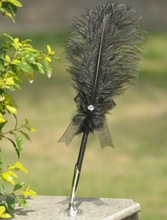New Product! China Supplier ! Wedding Decoration 12 Inches Black Ostrich Feather Pen / Holder Set Wedding Party 5 Colors