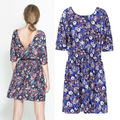 Nouveau 2014 femmes printemps été mode Vintage moitié manches robe européenne Style fleur impression Backless robe 6797