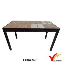antique art mind rectangle metal framed tile top table