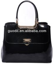 patent black tote handbag